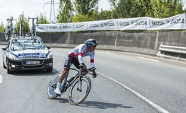 The Cyclist Michal Kwiatkowski - Tour de France 2014. Coursac, France - July 26, 2014: The Polish cyclist Michal Kwiatkowski (Omega Pharma-Quick Step Team) Royalty Free Stock Photography