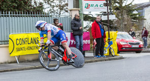 The Cyclist Mickael Delage - Paris-Nice 2016. Conflans-Sainte-Honorine,France-March 6,2016: The French cyclist Mickael Delage of FDJ Team riding during the Royalty Free Stock Images