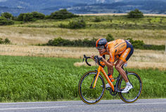 The Cyclist Mikel Astarloza. Chorges, France- July 17, 2013: The Basque cyclist Mikel Astarloza from  Euskaltel-Euskadi Team pedaling during the stage 17 of Stock Photos