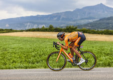 The Cyclist Mikel Astarloza. Chorges, France- July 17, 2013: The Basque cyclist Mikel Astarloza from  Euskaltel-Euskadi Team pedaling during the stage 17 of Royalty Free Stock Image