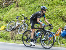 The Cyclist Mikel Nieve Iturralde. Col du Tourmalet, France - July 24, 2014: The Spanish cyclist Mikel Nieve Iturralde (Team Sky) climbing the difficult road to Royalty Free Stock Photography