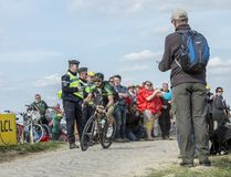 The Cyclist Morgan Lamoisso - Paris Roubaix 2015 Stock Photography