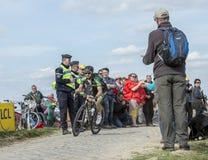 The Cyclist Morgan Lamoisso - Paris Roubaix 2015. Carrefour de l`Arbre, France - April 12,2015: The French cyclist, Morgan Lamoisso of Team Europcar, riding in Stock Photography