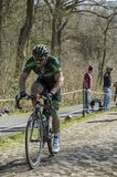 The Cyclist Morgan Lamoisson in The Forest of Arenberg- Paris Roubaix 2015 stock images