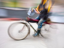 Cyclist in motion blur Stock Photography