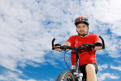 Cyclist on the mountain bike Royalty Free Stock Images