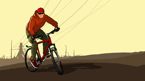 Cyclist on a mountain bike on the background of high-voltage towers Royalty Free Stock Photos