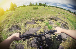 Cyclist on a Mountain Bike. On a forest track. photographed on a fisheye lens. Toned image Stock Photo