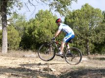 Cyclist on mountain bike racing making a career in the field Royalty Free Stock Photos