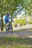 Cyclist on mountain bike racing making a career in the field Royalty Free Stock Photo