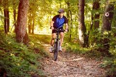 Cyclist on a mountain bike Royalty Free Stock Photo