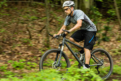 Cyclist on a mountainbike Stock Photo