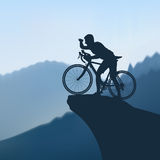 Cyclist in the mountains Royalty Free Stock Photos