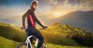 Cyclist in the mountains Royalty Free Stock Image