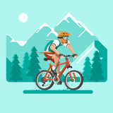 Cyclist in the mountains. Man dressed in sports clothes and helmet on the bicycle. Flat vector illustration. Cyclist in the mountains. Man dressed in sports Royalty Free Stock Photos