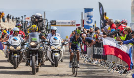 The Cyclist Nairo Alexander Quintana Rojas on Mont Ventoux. Mont Ventoux, France- July 14 2013: The Colombian cyclist Nairo Alexander Quintana Rojas (Movistar Stock Images