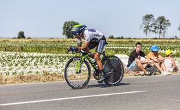 The Cyclist Nairo Alexander Quintana Rojas- White Jersey Royalty Free Stock Photos