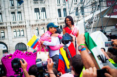 Cyclist nairo quintana celebrating his winning of italy tour, Trieste, Italy, 2014 Royalty Free Stock Photography