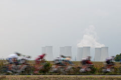 Cyclist near Nuclear Power plant Stock Photos
