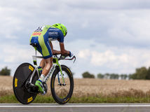 The Cyclist Nibali Vincenzo. Beaurouvre,France, July 27 2012:Image of the Italian cyclist Nibali Vincenzo (Liquigas-Cannondale team) during the 19th stage- a Royalty Free Stock Photography