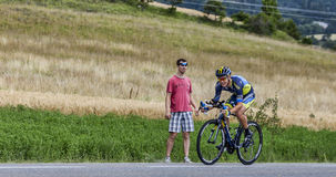 The Cyclist Nicolas Roche. Chorges, France- July 17, 2013: The Irish cyclist Nicolas Roche from Saxo-Tinkoff Team pedaling during the stage 17 of 100th edition Stock Images