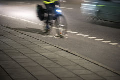 Cyclist at night Royalty Free Stock Images