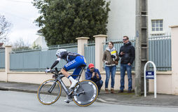 The Cyclist Niki Terpstra - Paris-Nice 2016. Conflans-Sainte-Honorine,France-March 6,2016: The Dutch cyclist Niki Terpstra of Etixx-Quick Step Team riding during Stock Photography