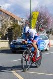 The Cyclist Odd Christian Eiking - Paris-Nice 2016. Conflans-Sainte-Honorine,France-March 6,2016: The Norwegian cyclist Odd Christian Eiking of FDJ Team riding Royalty Free Stock Photos