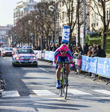 The Cyclist Palini Andrea Francesco- Paris Nice 20. Houilles, France- March 3rd 2013: The Italian cyclist Palini Andrea Francesco from Lampre Merida Team, riding Royalty Free Stock Images