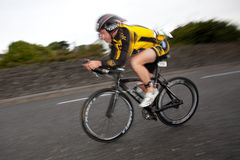 Cyclist, panning technique, 2nd Curtain Sync Flash Royalty Free Stock Images