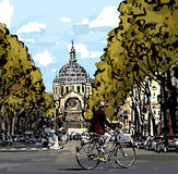 Cyclist in Paris Stock Photo