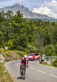 The Cyclist Pavel Brutt. Chorges, France- July 17, 2013: The Russian cyclist Pavel Brutt from Katusha Team pedaling during the stage 17 of 100th edition of Le Stock Photo