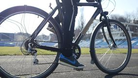 Cyclist pedal close-up slow motion stock footage