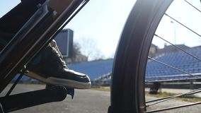 Cyclist pedal close-up slow motion stock video footage