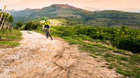 Cyclist pedaling through the hills. Stock Image