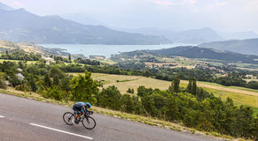 The Cyclist Peter Kennaugh. Chorges, France- July 17, 2013: The Manx cyclist Peter Kennaugh from Team Sky pedaling during the stage 17 of 100th edition of Le Stock Image