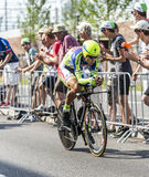The Cyclist Peter Sagan - Tour de France 2015. Utrecht,Netherlands - 04 July 2015: The Slovak cyclist Peter Sagan of Tinkoff-Saxo Team riding during the first Royalty Free Stock Photography