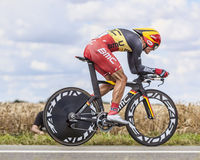 The Cyclist Philippe Gilbert. Beaurouvre,France,July 21st 2012:The Belgian cyclist Philippe Gilbert from BMC Team pedaling during the 19th stage of Le Tour de Royalty Free Stock Photo