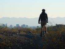 Cyclist in a Phoenix area park, Arizona stock photos