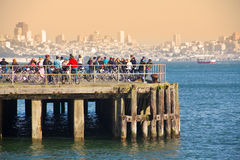 Cyclist on pier Royalty Free Stock Photos