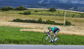 The Cyclist Pierre Rolland. Chorges, France- July 17, 2013: The French cyclist Pierre Rolland  from Team Europcar pedaling during the stage 17 of 100th edition Stock Photos