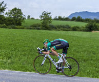 The Cyclist Pierre Rolland. Chorges, France- July 17, 2013: The French cyclist Pierre Rolland  from Team Europcar pedaling during the stage 17 of 100th edition Stock Photography