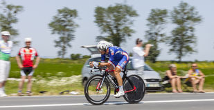 The Cyclist Pierrick Fedrigo. Ardevon,France-July 10, 2013: Panning image of the French cyclist Pierrick Fedrigo from FDJ.fr Team cycling during the stage 11 of Royalty Free Stock Image