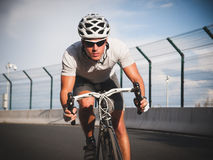 Cyclist portrait in action Royalty Free Stock Image