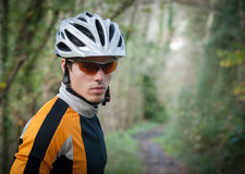 Cyclist portrait in the forest Stock Images