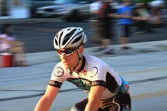 Cyclist at pro race event Stock Images