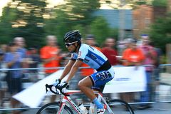 Cyclist at pro race event Royalty Free Stock Photo