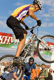 Cyclist put on the rear wheel. Competitions on trial. Summer 2007, Minsk, Belarus Stock Photo