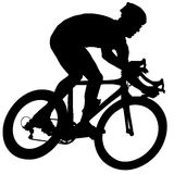 Cyclist on a race. Silhouette of riding cyclist on white background Royalty Free Stock Photography
