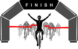 Cyclist Race Winner Royalty Free Stock Images